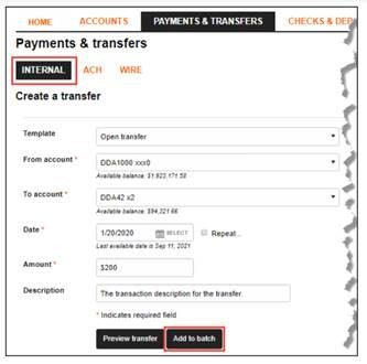 image of payments and transfers screen within Business Internet Banking